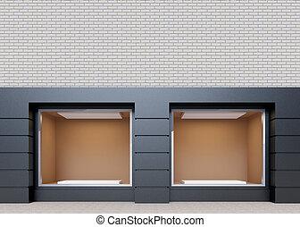 Showcase on  street, mock up. 3D rendering