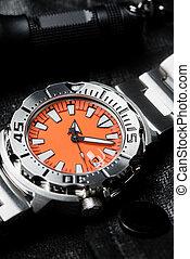 Primer plano, reloj de pulsera, lujo