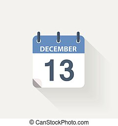 13 december calendar icon on grey background