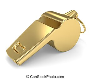 Golden Whistle on a white background