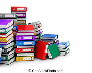 Many colorful folders stacked in a row. Ring binders. 3D...