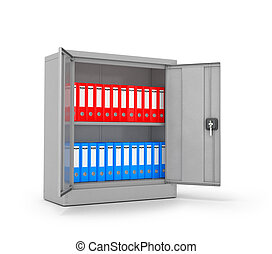 Ring binders and folders in metal cases on a white...