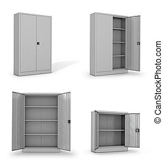 Metal cabinets for documents on a white background. 3D...