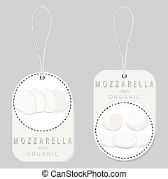 white cottage cheese Mozzarella - Vector illustration logo...