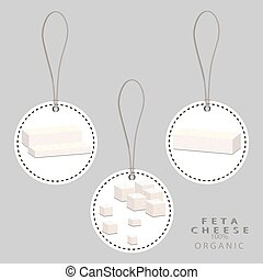 white cottage cheese Feta - Vector illustration logo for...