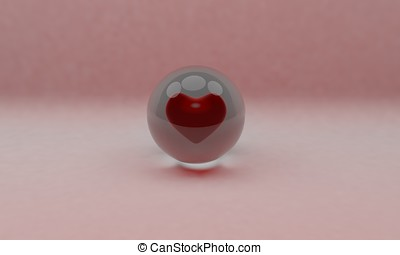 Glass ball and heart background 3d render