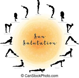 Sun Salutation. Surya Namaskara - Vector illustration of Sun...