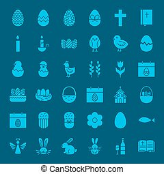 Easter Glyphs Website Icons. Vector Set of Spring Holiday...