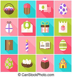 Easter Holiday Colorful Icons. Vector Illustration. Spring...