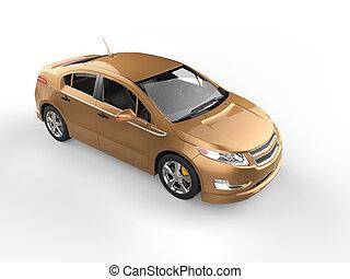 Modern electric business car - metallic gold - studio shot