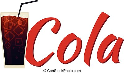 Cola Soft drink with ice. Vector flat illustration. - Cola...
