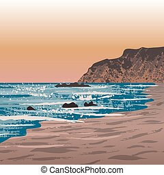 beach in Crystal Cove - Illustration of Newport beach in...