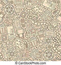 Cartoon cute hand drawn Cinema seamless pattern. Monochrome...