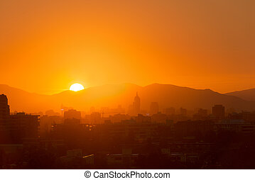 Santiago de Chile - Skyline of downtown at sunset, Santiago...