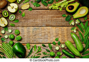 legumes, madeira, verde, fundo, frutas