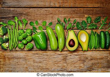 legumes, madeira, verde, fundo