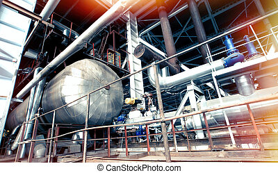 Industrial zone, Steel pipelines and cables - Industrial...