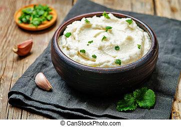 Ricotta roasted garlic mashed cauliflower. toning. selective...
