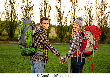 Young couple ready for camping