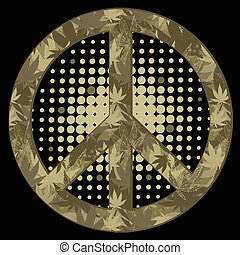 peace symbol. Military style.