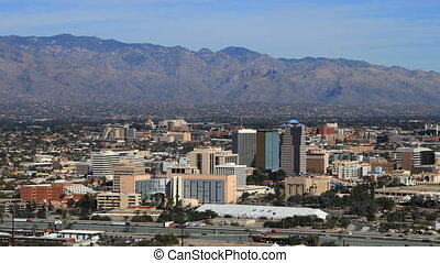 Aerial timelapse of Tucson, Arizona skyline - An aerial...