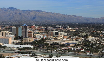 Aerial timelapse of Tucson, Arizona city center - An aerial...
