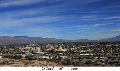 Aerial timelapse of Tucson, Arizona and traffic - An aerial...