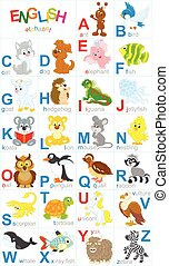 English alphabet - Vector alphabet with different funny...