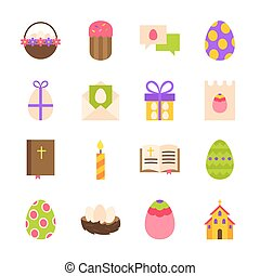 Happy Easter Holiday Objects. Vector Illustration. Spring...