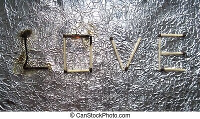 Word love burns grunge style stop motion animation - Word...