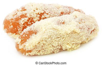 Popular Bangladeshi Sweetmeat Chamcham over white background