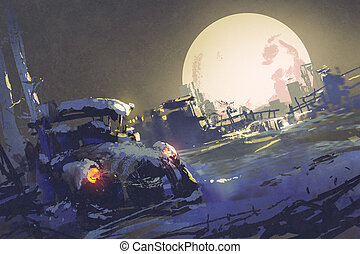 abandoned car coverd with snow and big fullmoon on...