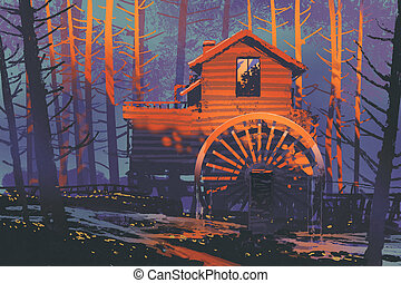 wooden house with a waterwheel in forest at...