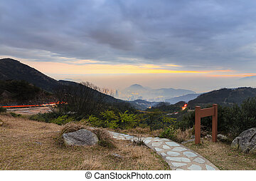 Tai Mo Shan sunset, hong kong famous mountain