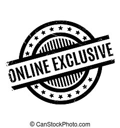 Online Exclusive rubber stamp. Grunge design with dust...