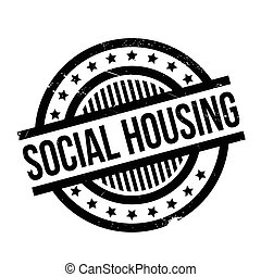 Social Housing rubber stamp. Grunge design with dust...