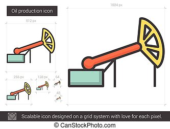 Oil production line icon. - Oil production vector line icon...