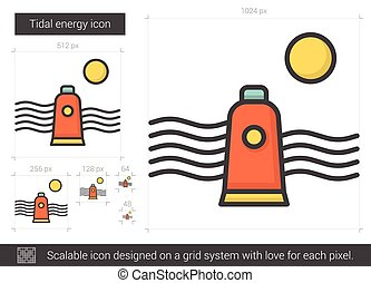 Tidal energy line icon. - Tidal energy vector line icon...