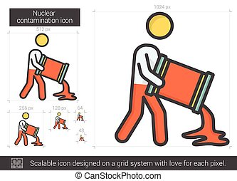 Nuclear contamination line icon. - Nuclear contamination...