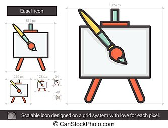 Easel line icon. - Easel vector line icon isolated on white...