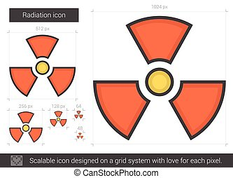Radiation line icon. - Radiation vector line icon isolated...