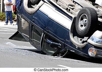Car Accident Smashed Vehicle with Damage Flipped Over - Car...