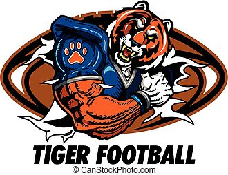 tiger football - team design with tiger mascot ripping...