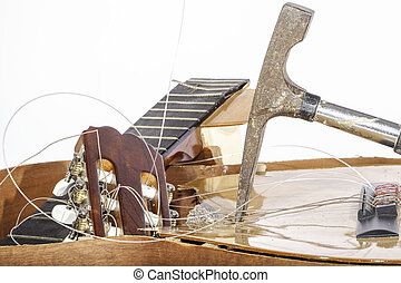 Smashed Guitar - An acoustic guitar that has been smashed...