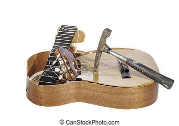 Demolished Guitar - An acoustic guitar that has been...