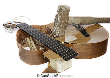 Guitar Smashed with a Sledgehammer - An acoustic guitar that...