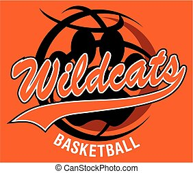 wildcats basketball team design with script and tail for...