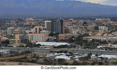 Aerial view of Tucson, Arizona skyline - An aerial view of...