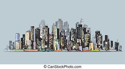 City skyline panorama, hand drawn cityscape, vector drawing architecture illustration