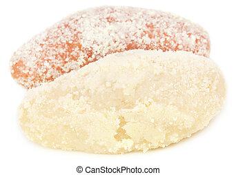 Delicious Bangladeshi chamcham over white background